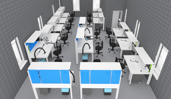 Lab Workbench & Workstation - Power sockets and safety and switch module